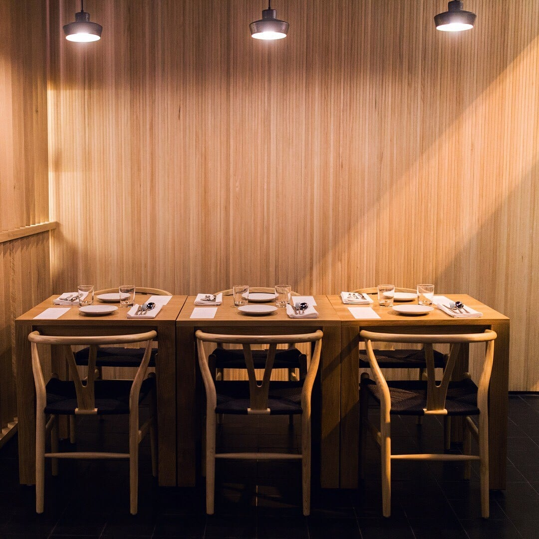 White oak tambour used in a restaurant wood wall paneling